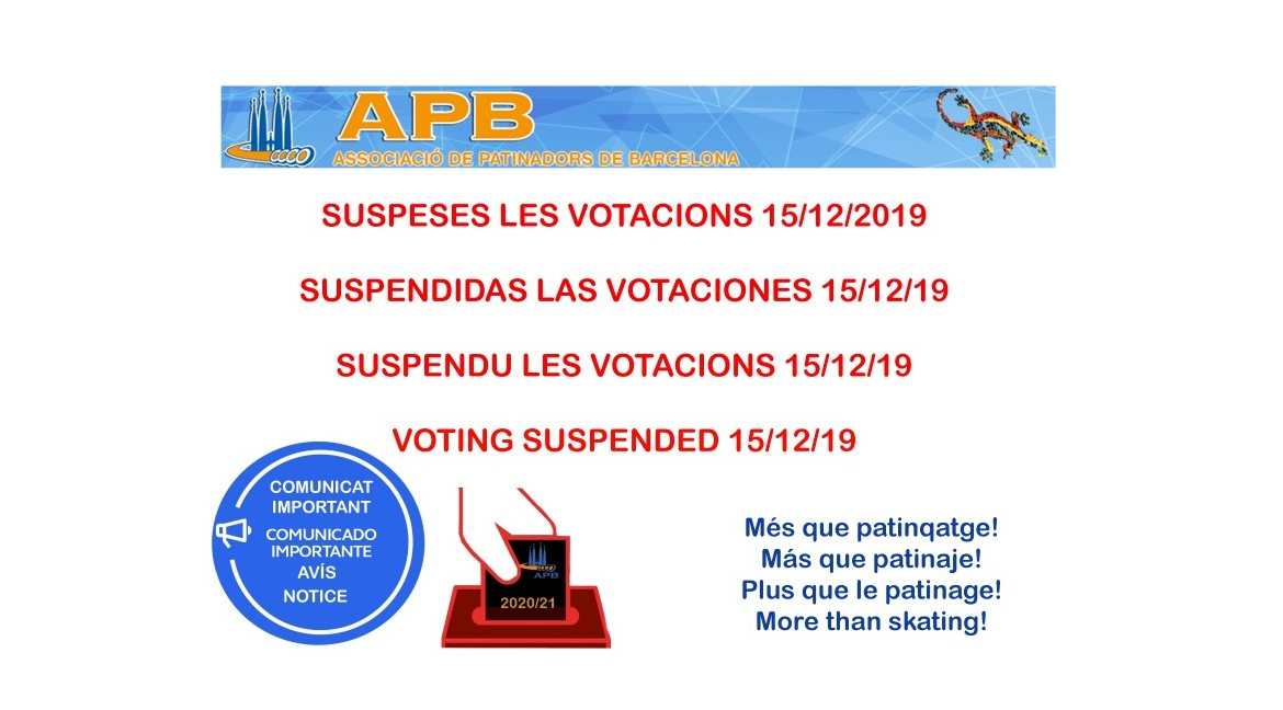 2019/12/12 Cancellation of Voting Sunday 15/12/19