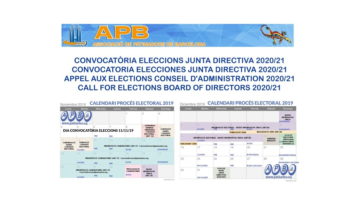 2019/11/12 CALL FOR ELECTIONS BOARD OF DIRECTORS 2020/21