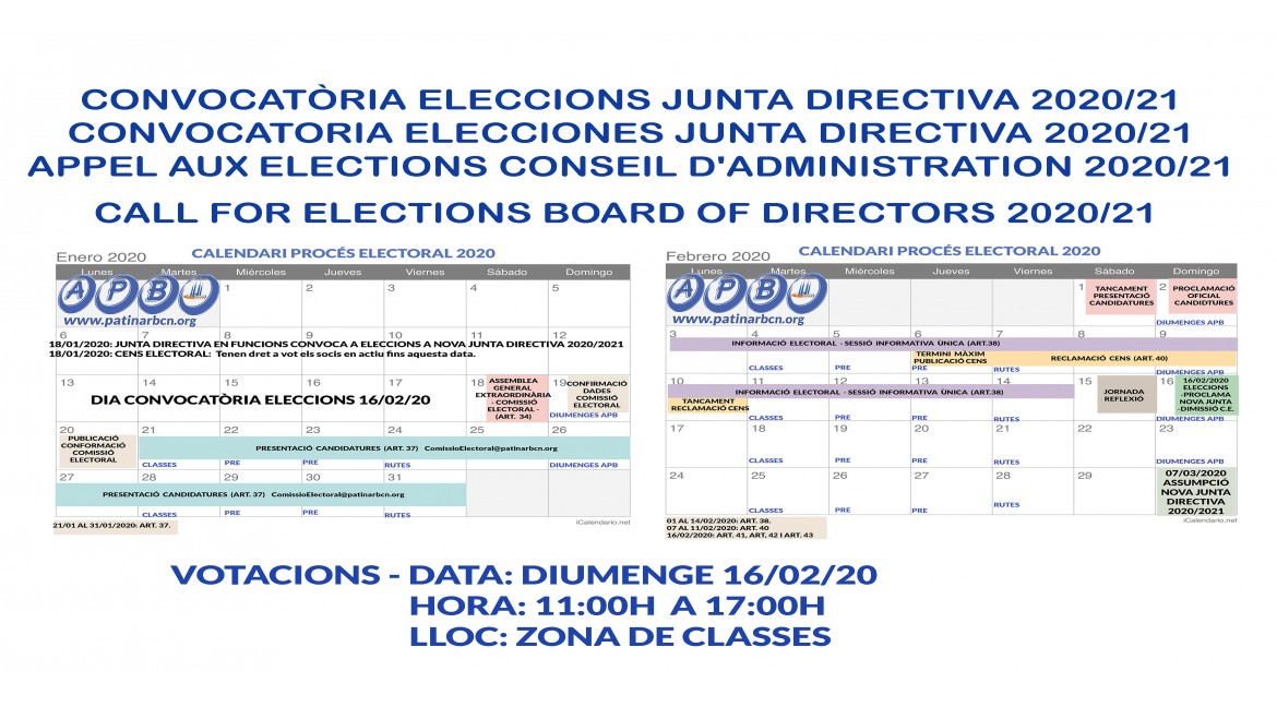 2020/01/18 CALL FOR ELECTIONS BOARD OF DIRECTORS 2020/21